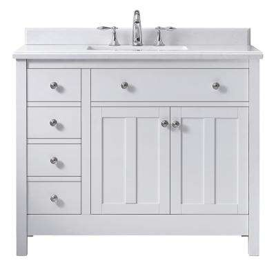 Newcastle 42 in. W x 21 in. D Vanity in Pure White with Marble Vanity Top in White with White Basin