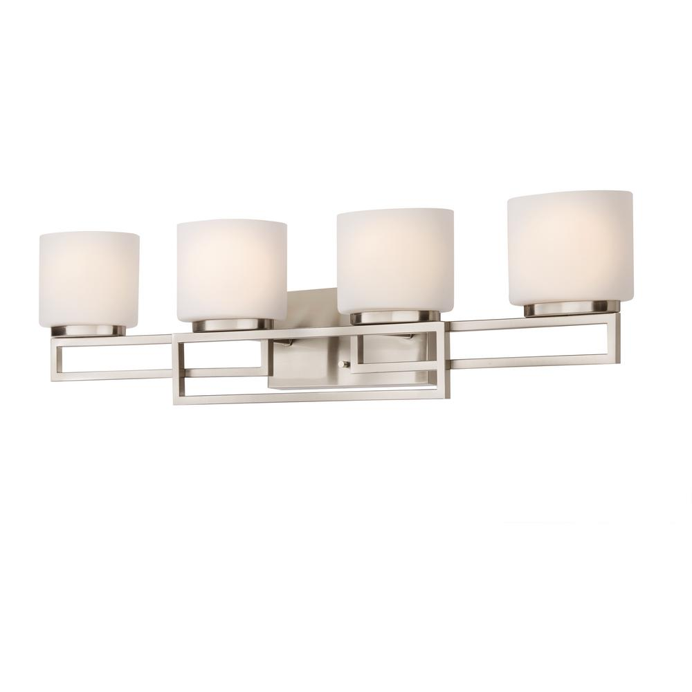 Home Decorators Collection Tustna 4 Light Brushed Nickel Bathroom Vanity Light With Opal Glass Shades 20367 001 The Home Depot