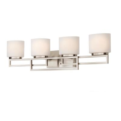4-Light Brushed Nickel Bathroom Vanity Light with Opal Glass Shades