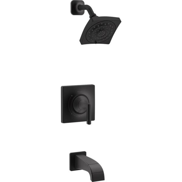 Katun Single-Handle 3-Spray Tub and Shower Faucet in Matte Black (Valve Included)
