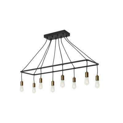 Tae 42 in. W 8-Light Black Modern Industrial Island Linear Chandelier with Aged Brass Socket Cups and Adjustable Cords