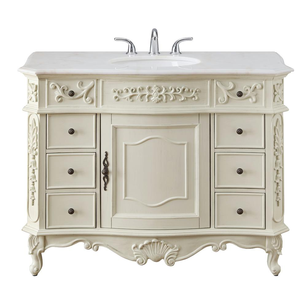 Home Decorators Collection Winslow 45 in. W x 22 in. D Bath Vanity in Antique White with Vanity Top in White Marble with White Basin