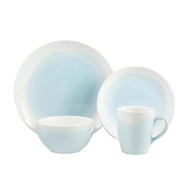 Oasis 16-Piece Mint/White Dinner Set