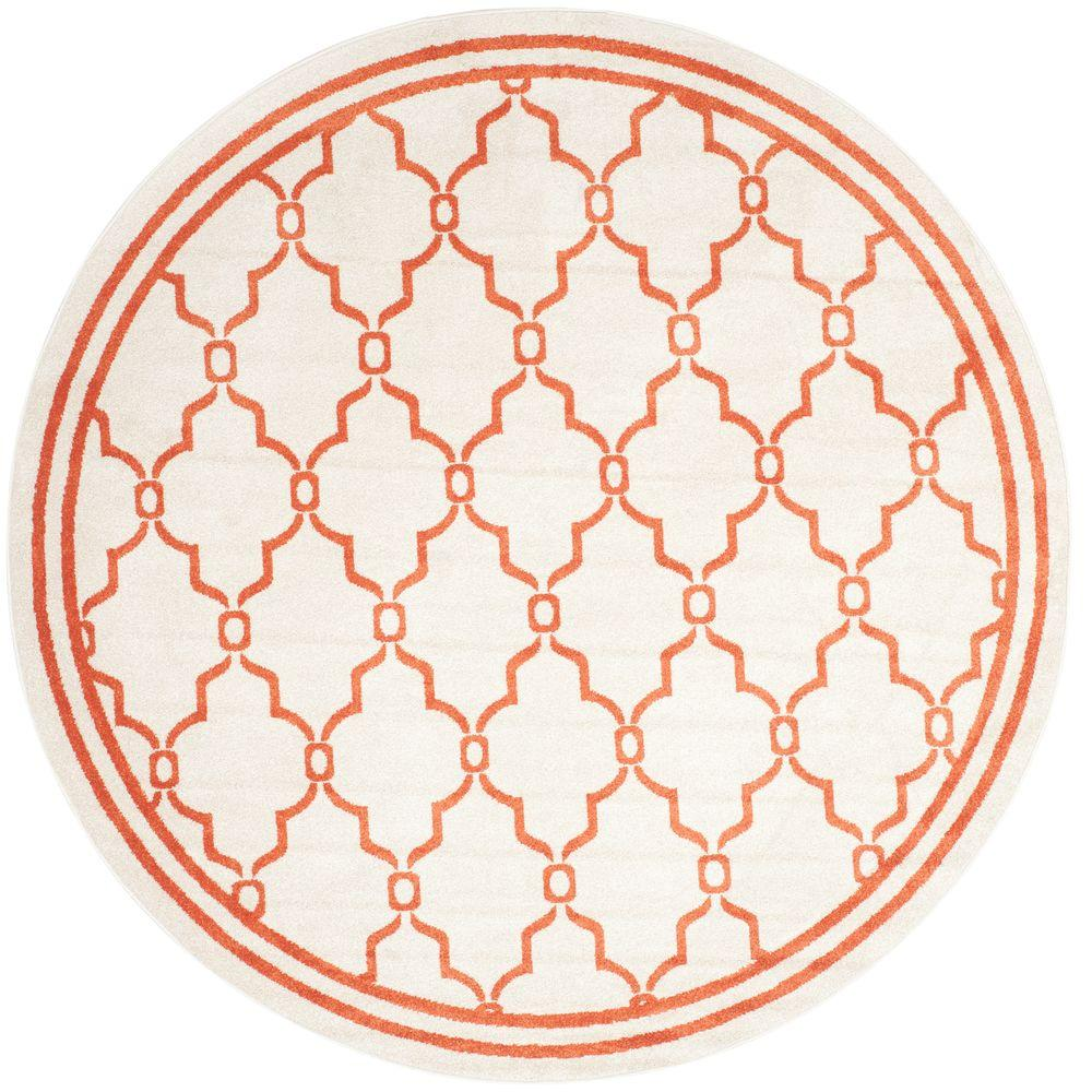 Safavieh Amherst Beige/Orange 7 ft. x 7 ft. Indoor/Outdoor Round Area Rug
