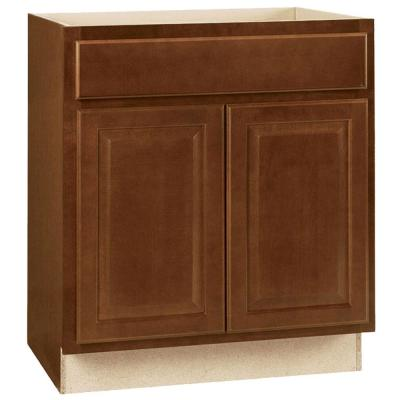 Hampton Assembled 30x34.5x24 in. Base Kitchen Cabinet with Ball-Bearing Drawer Glides in Cognac