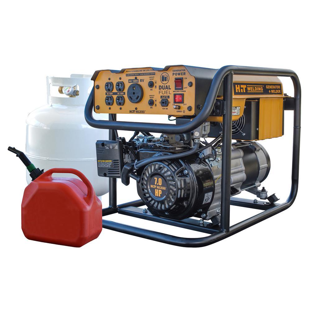 HIT Welding 4,000/3,500-Watt Dual Fuel Powered Portable Generator with Stick Welder (TIG Ready)