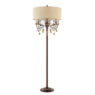 67.25 in. Magnolia Bronze Crystal 4-Light Candelabra Floor Lamp