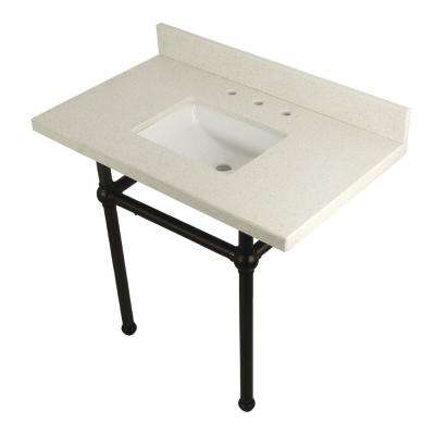 Square-Sink Washstand 36 in. Console Table in White Quartz with Metal Legs in Oil Rubbed Bronze
