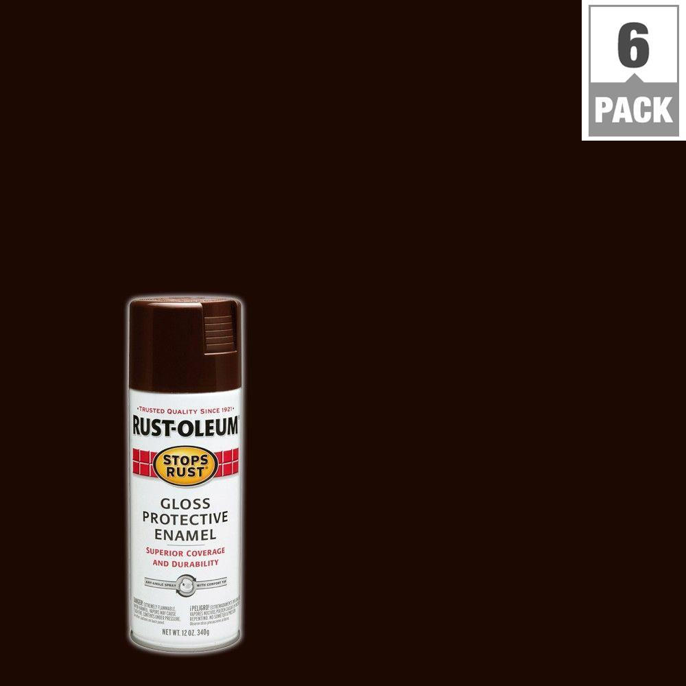 12 oz. Protective Enamel Gloss Kona Brown Spray Paint (6-Pack)