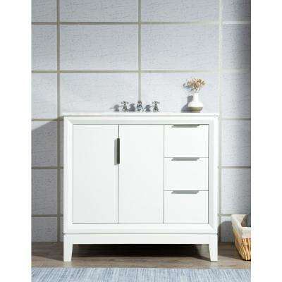 Elizabeth Collection 36 in. Bath Vanity in Pure White With Vanity Top in Carrara White Marble - Vanity Only