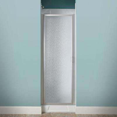 24 in. x 64 in. Framed Pivot Shower Door Kit in Silver with Pebbled Glass