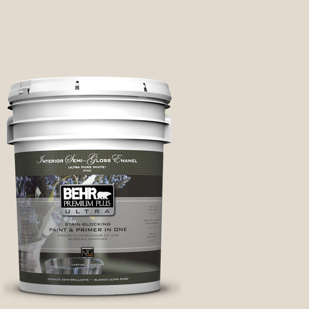 BEHR Premium Plus Ultra 5-gal. #W-B-720 Oyster Semi-Gloss Enamel Interior Paint