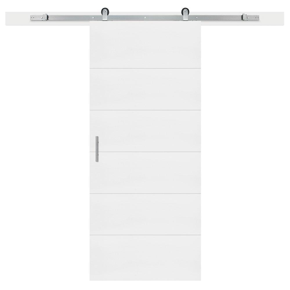 36 in. x 84 in. Melrose Primed Interior Sliding Barn Door Slab with Hardware Kit