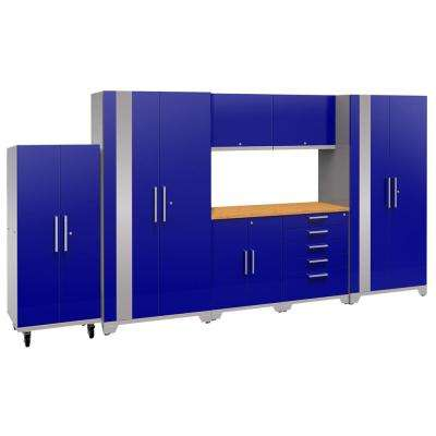 Performance Plus 2.0 80 in. H x 156 in. W x 24 in. D Steel Garage Cabinet Set in Blue (8-Piece) with Bamboo Worktop