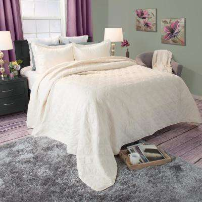 Andrea Embroidered Beige Polyester King Quilt