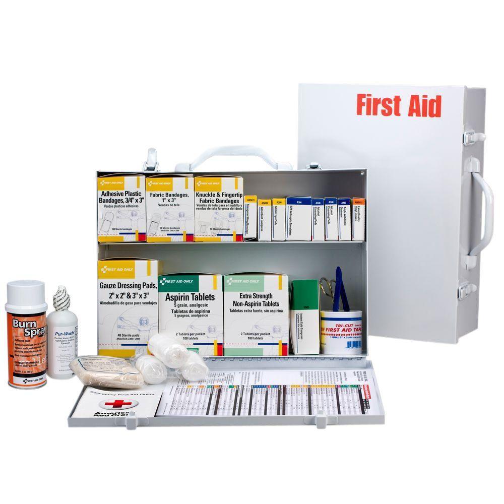 516-Piece 2 Shelf Metal Industrial First Aid Kit Station