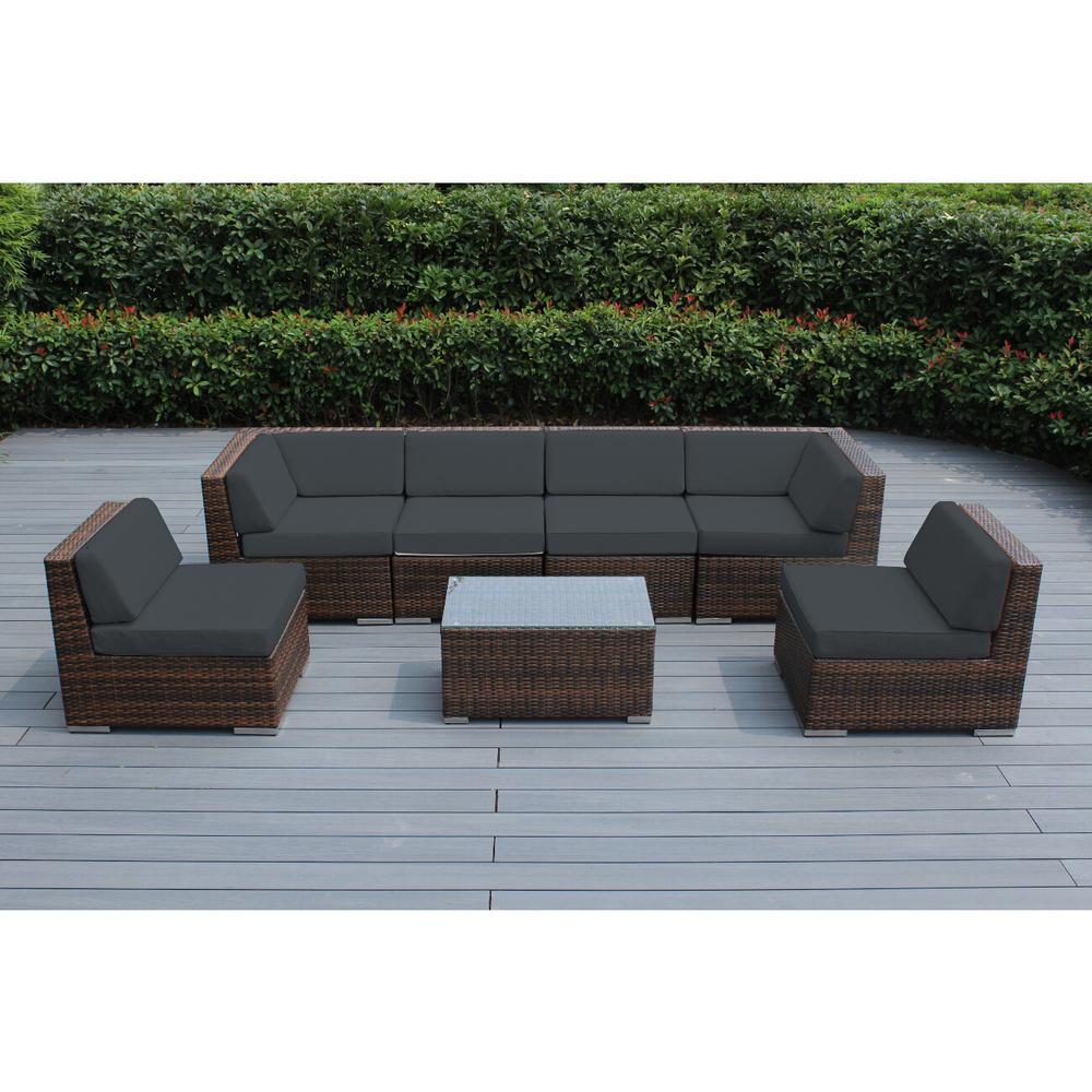 Ohana Depot Mixed Brown 7-Piece Wicker Patio Seating Set with Sunbrella Coal Cushions