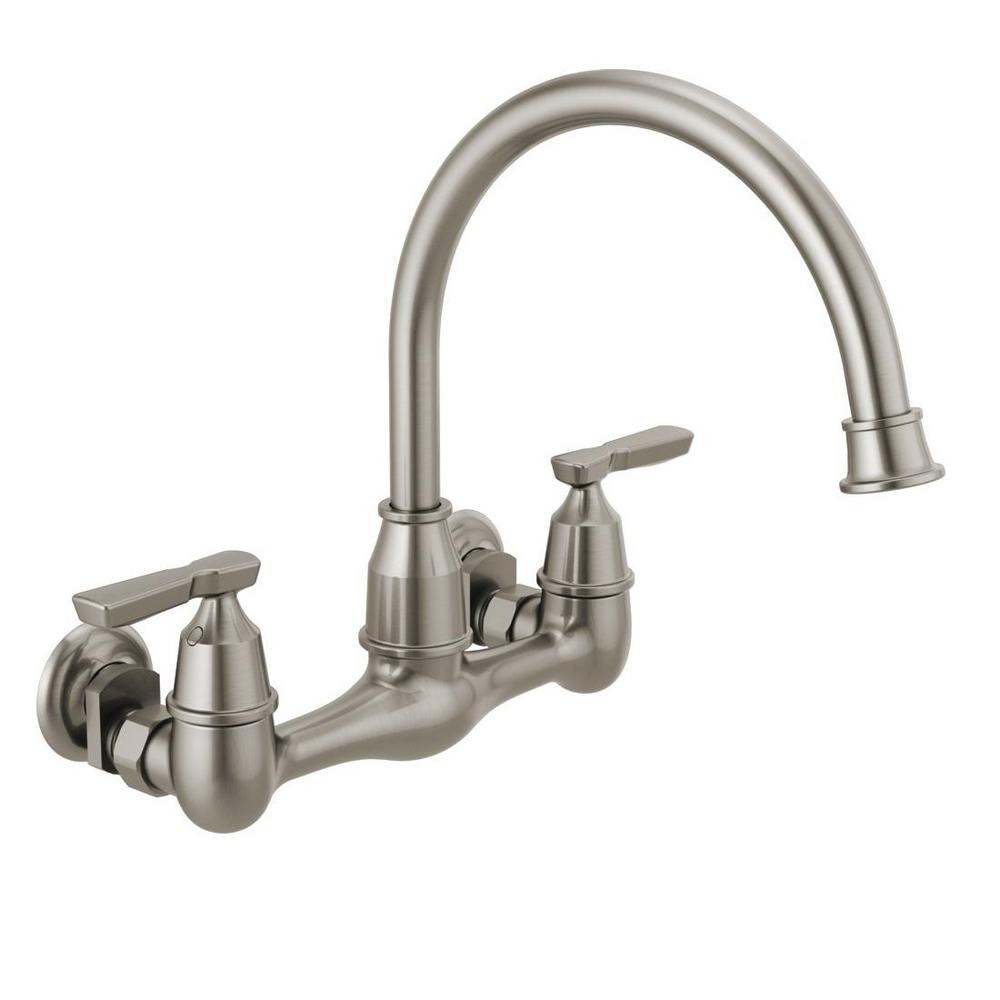 Delta corin 2 handle wall mount kitchen faucet in stainless