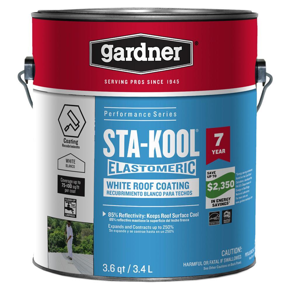 Gardner 0 9 Gal Sta Kool Elastomeric White Reflective Roof Coating Sk 7701 The Home Depot