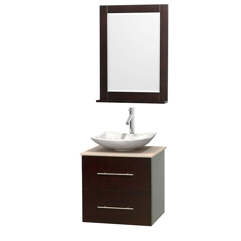 Wyndham Collection Centra 24 in. Vanity in Espresso with Marble Vanity Top in Ivory, Carrara White Marble Sink and 24 in. Mirror