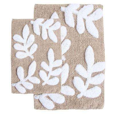 Monte Carlo Taupe and White 21 in. x 34 in. and 17 in. x 24 in. 2-Piece Bath Rug Set