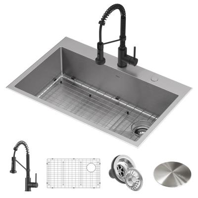 Loften All-in-One Dual Mount Drop-In Stainless Steel 33in. Single Bowl Kitchen Sink with Pull Down Faucet in Matte Black