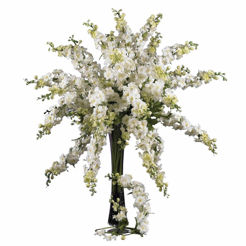 38.5 in. H White Delphinium Stem (Set of 12)