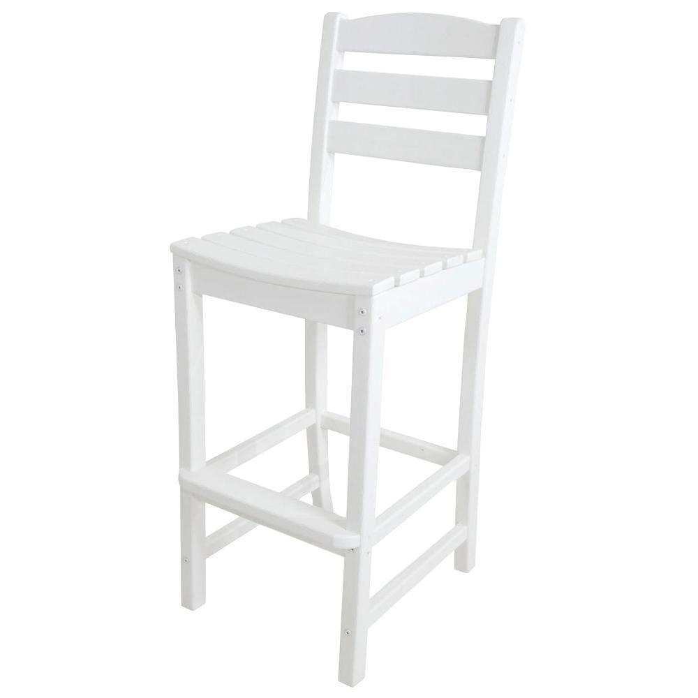 POLYWOOD La Casa Cafe White Plastic Outdoor Patio Bar Side Chair