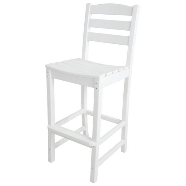 La Casa Cafe White Plastic Outdoor Patio Bar Side Chair