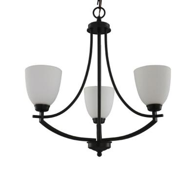 3-Light Bronze Chandelier with White Frosted Glass Shade