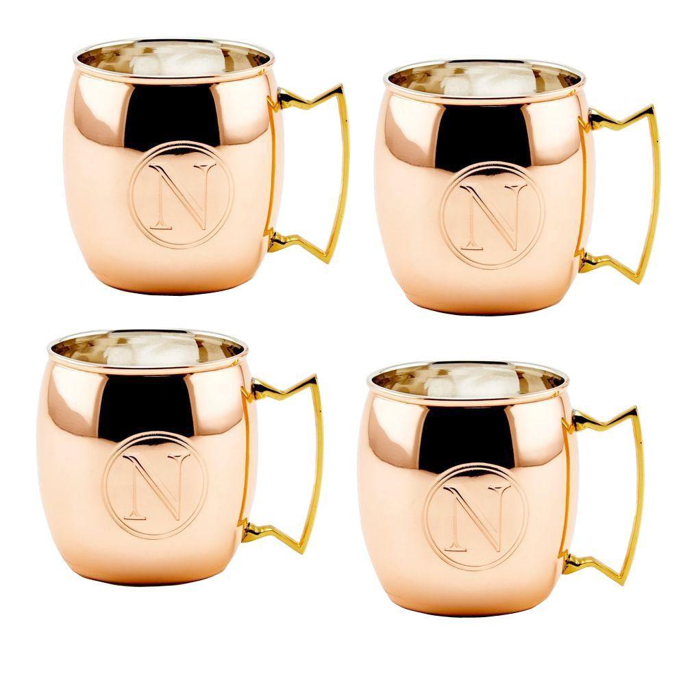 Monogram N 16 oz. Solid Copper Moscow Mule Mugs (Set of 4)