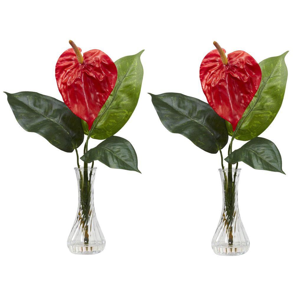 225 & 14.5 in. H Red Anthurium with Bud Vase Silk Flower Arrangement (Set of 2)