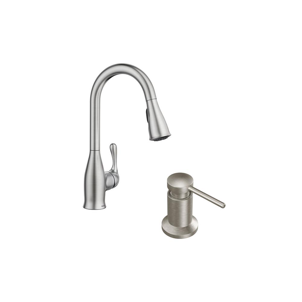 MOEN Kaden Single-Handle Pull-Down Sprayer Kitchen Faucet with Reflex in  Spot Resist Stainless Plus Soap Dispenser