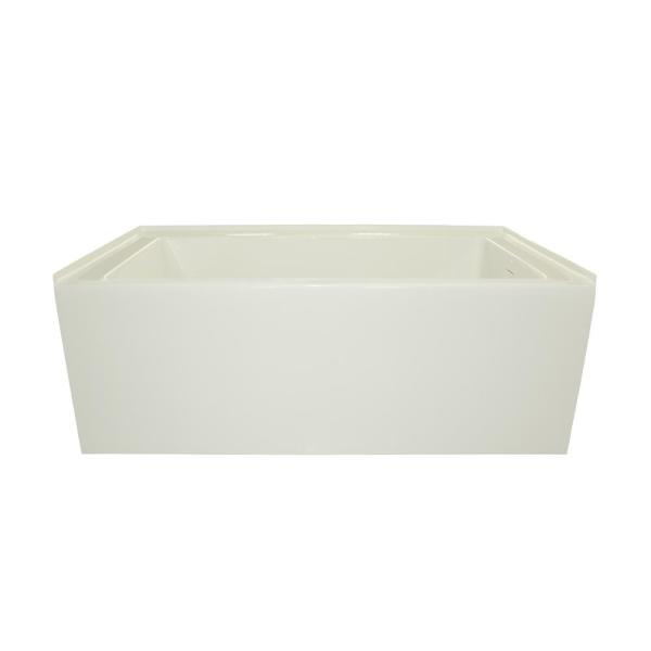 Sydney 60 in. Acrylic Rectangle Alcove Left Drain Soaking Tub in White with Matching Linear Integral Overflow