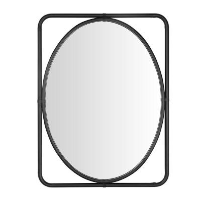 Medium Rectangle Black Oval Modern Accent Mirror (32 in. H x 24 in. W)