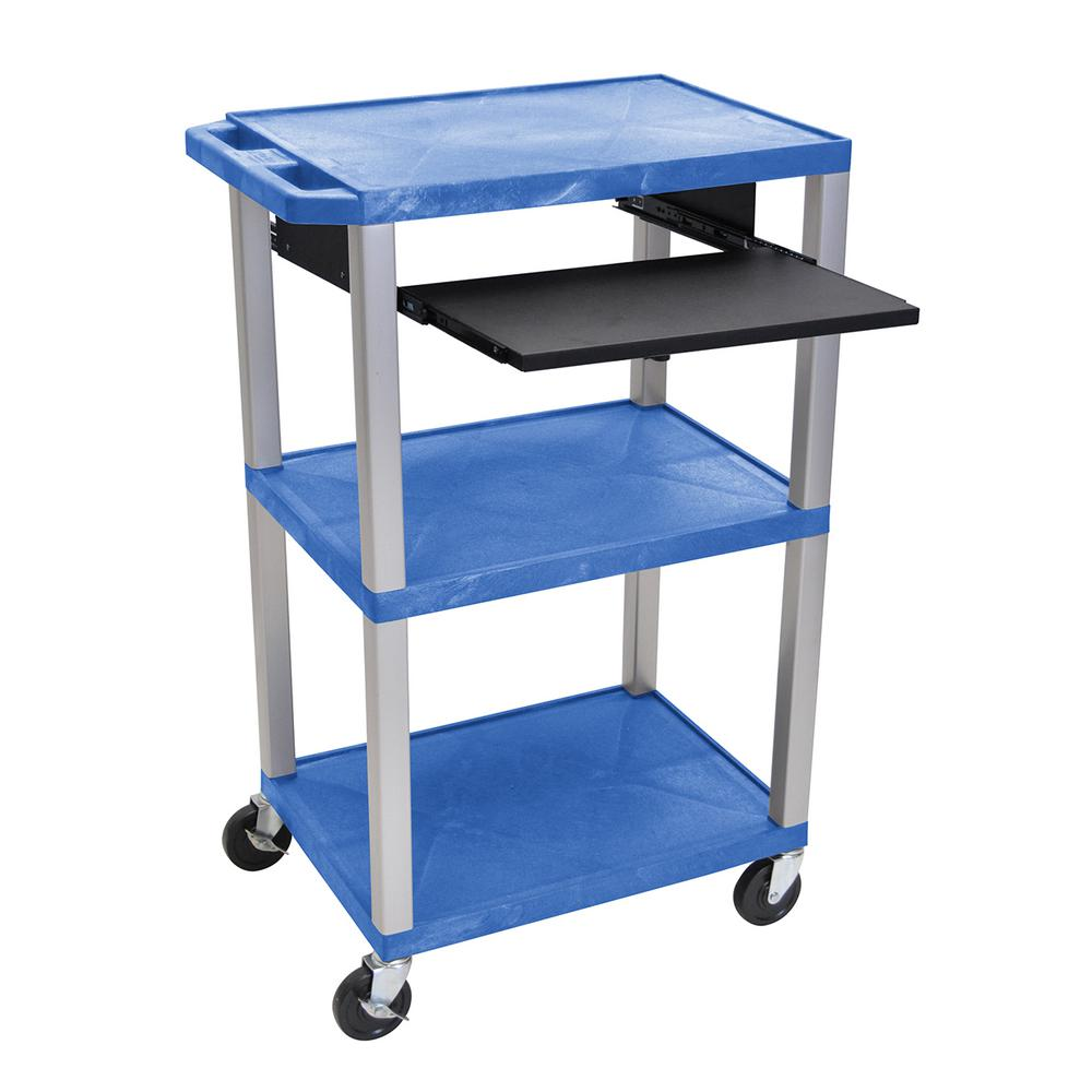 WTPS 42 in. A/V Cart Pullout Shelf W/ Electric Blue Shelves,