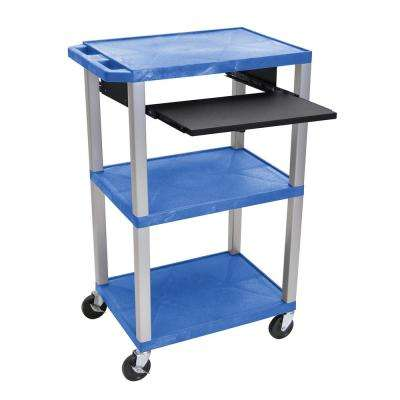 WTPS 42 in. A/V Cart Pullout Shelf W/ Electric Blue Shelves, Nickel Legs