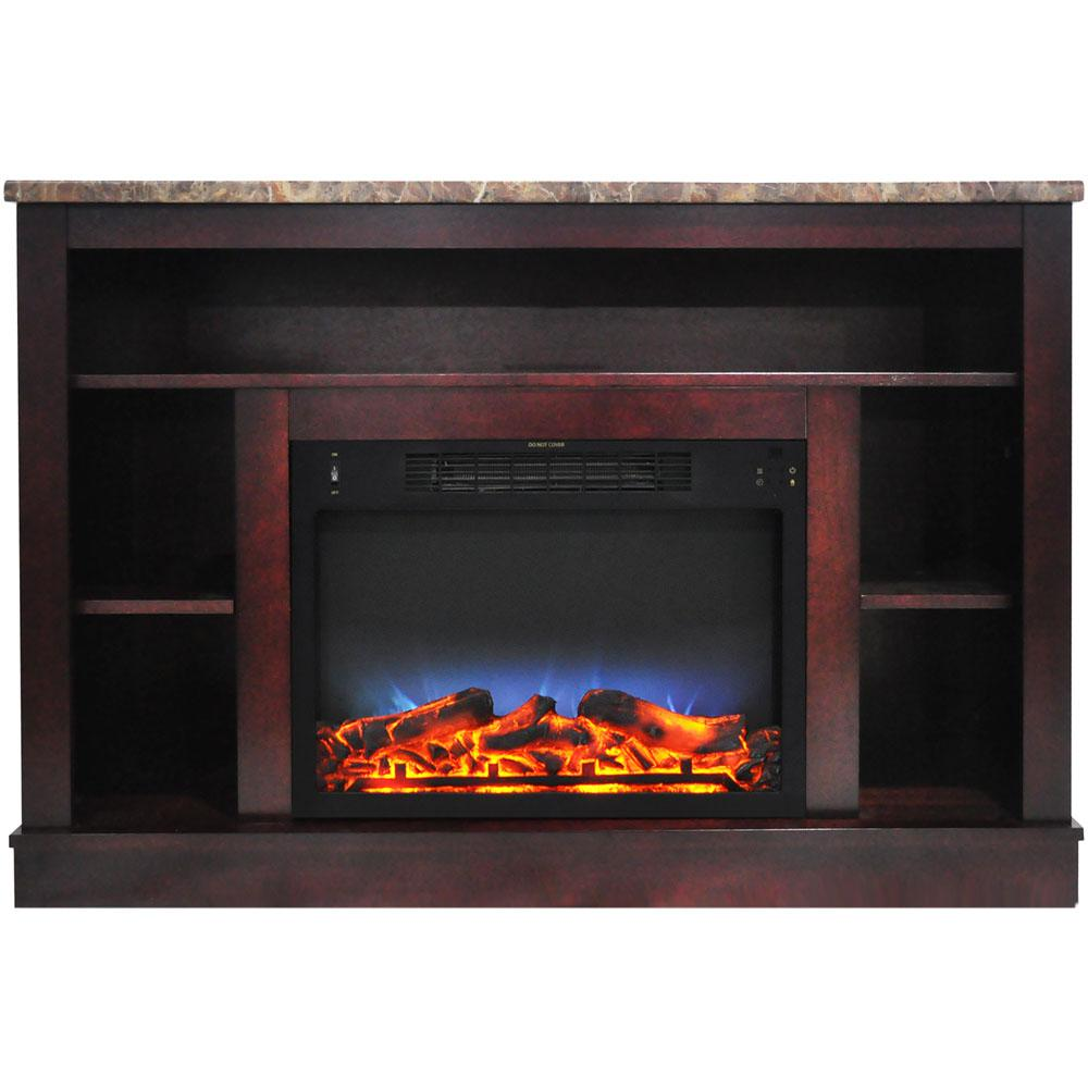 47 in. Electric Fireplace with a Multi-Color LED Insert and Mahogany