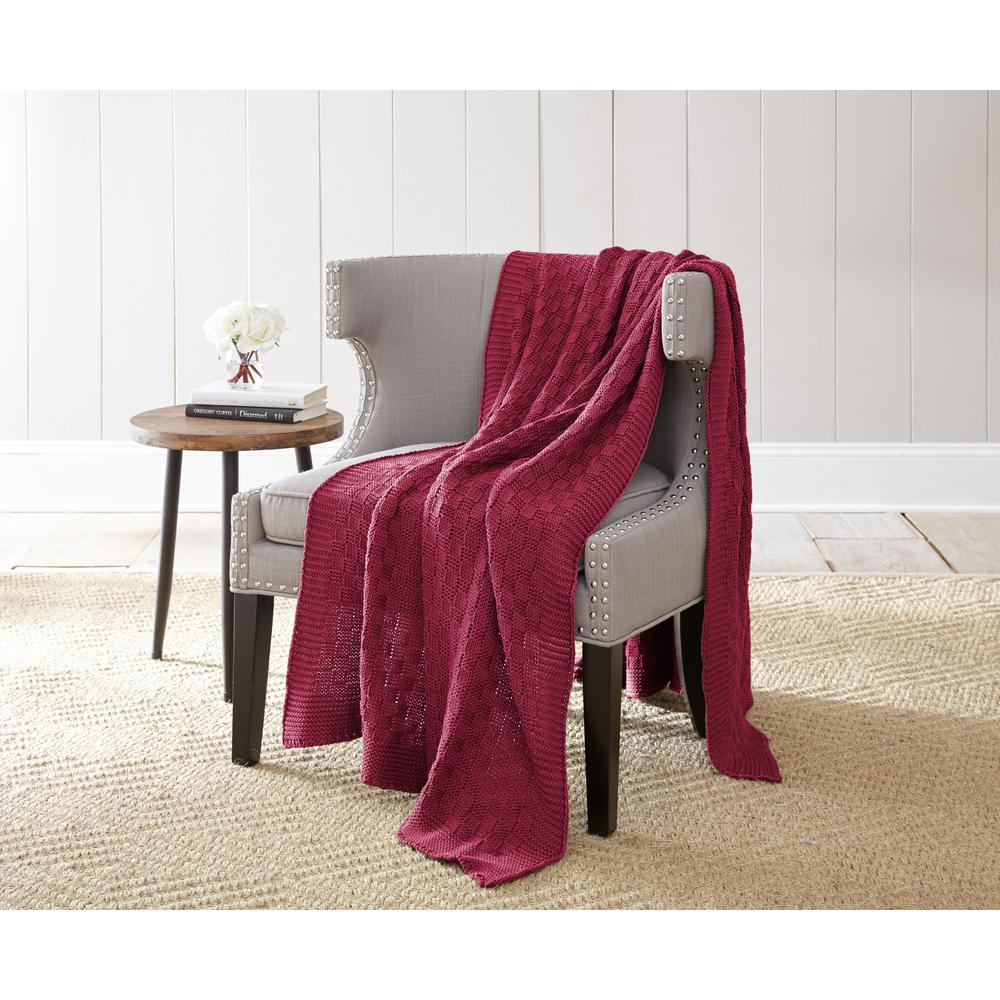 Amrapur Overseas Cherry Red 100% Cotton Oversized Cable Chunky Knit  Throws-5CHKBWVG-RED-ST - The Home Depot 9fa24a26b