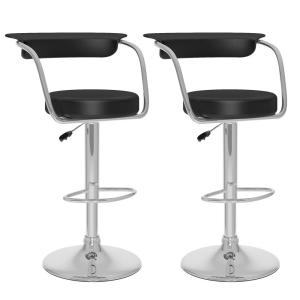 Adjustable Black Leatherette Open Back Bar Stool (Set of 2)
