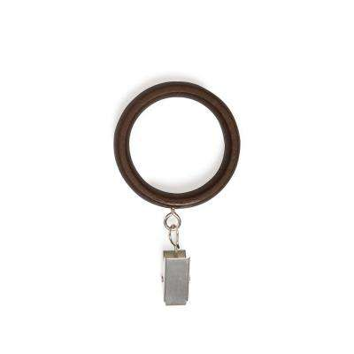 1 in. Large Wood Clip Rings in Aged Walnut (7-Piece)