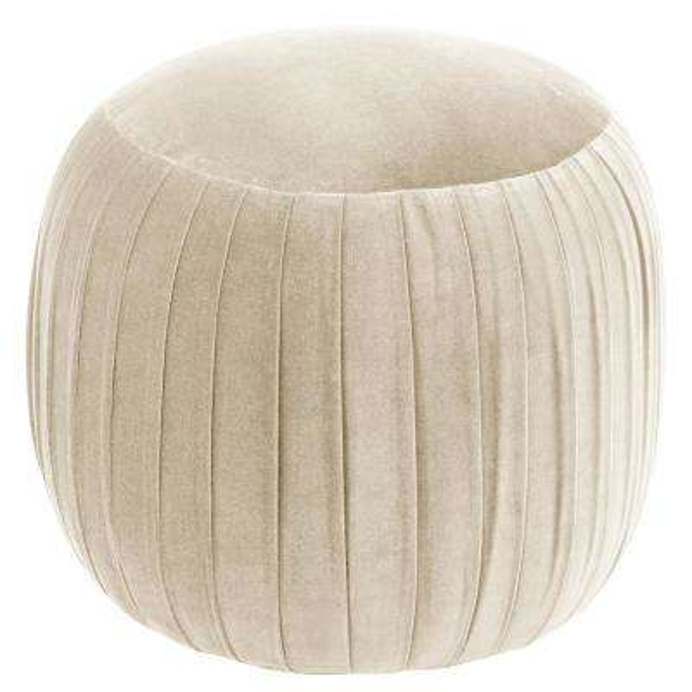 Regal Antique White Round Shirred Ottoman