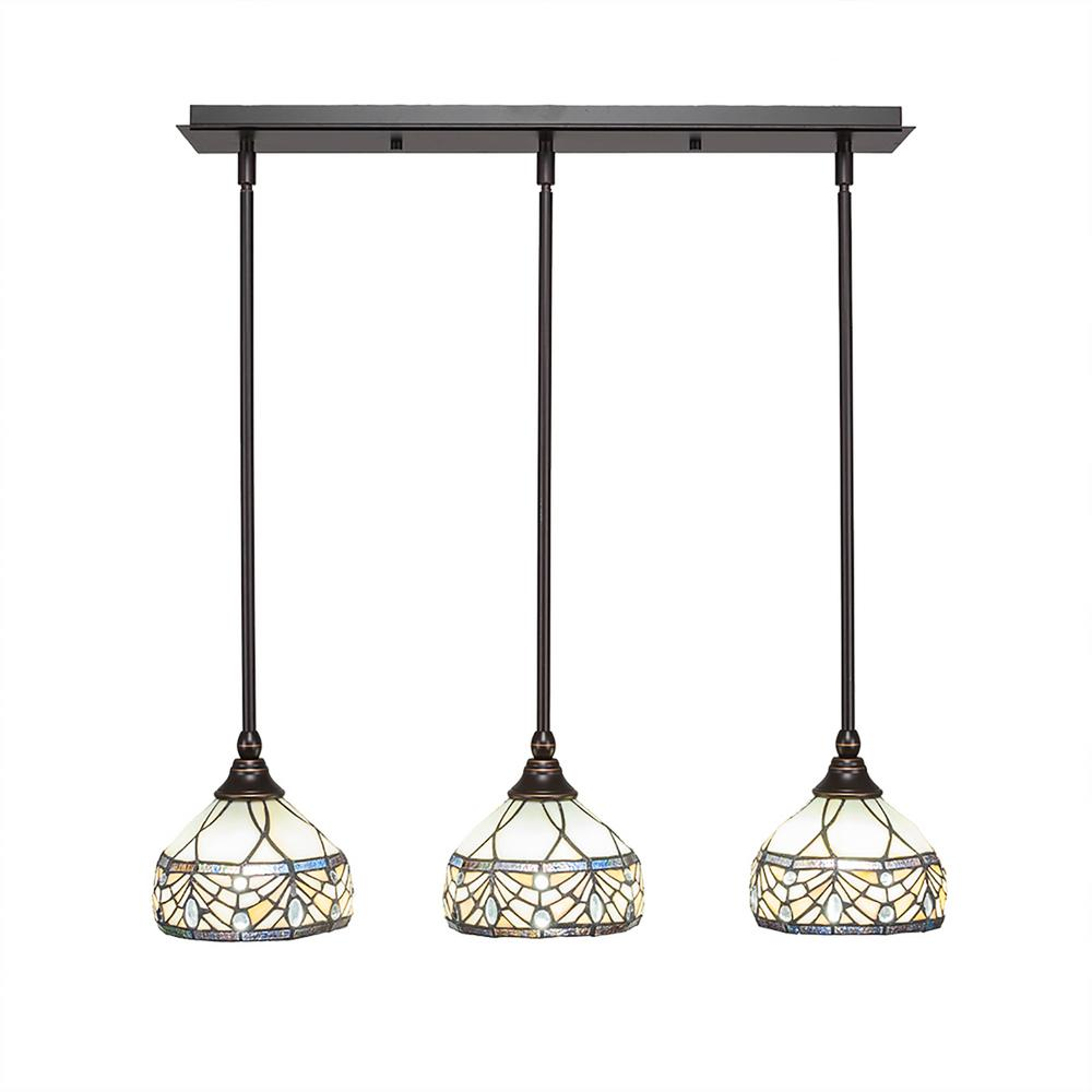 Cambridge 3-Light Dark Granite Island Pendant with