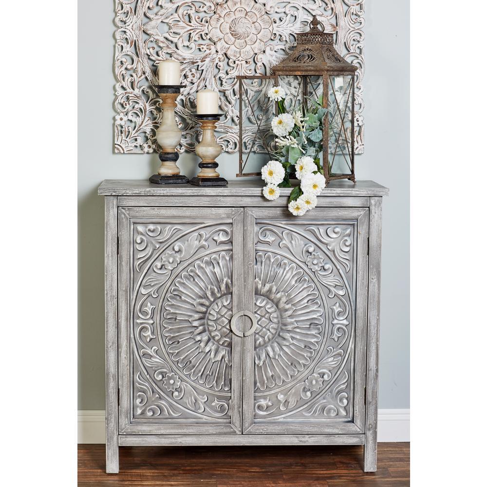 Litton Lane Mettalic Gray 2 Door Wood Flourished Cabinet 22670 The