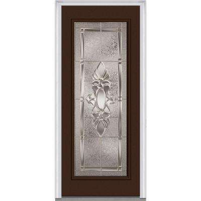32 in. x 80 in. Heirloom Master Right-Hand Inswing Full Lite Decorative Painted Steel Prehung Front Door