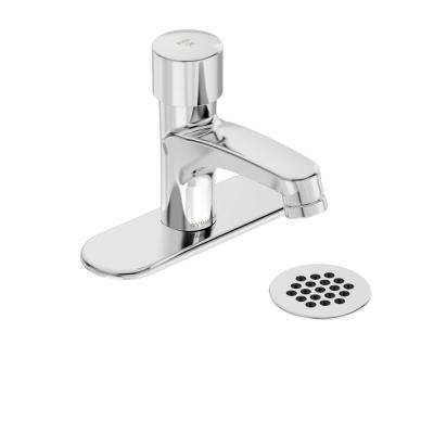 Scot Single Hole Single-Handle Metering Bathroom Faucet with Grid Drain and Optional 4 in. Deck Plate in Chrome