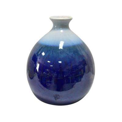 12 in. Blue Ceramic Vase