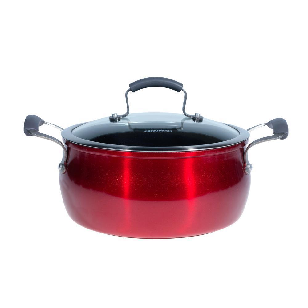 5 Qt. Red Translucent Aluminum Chili Pot with Lid