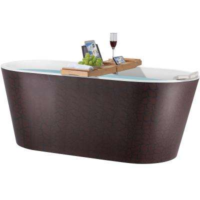 59 in. Acrylic Center Drain Oval Double Ended Flatbottom Freestanding Bathtub in Reddish Brown