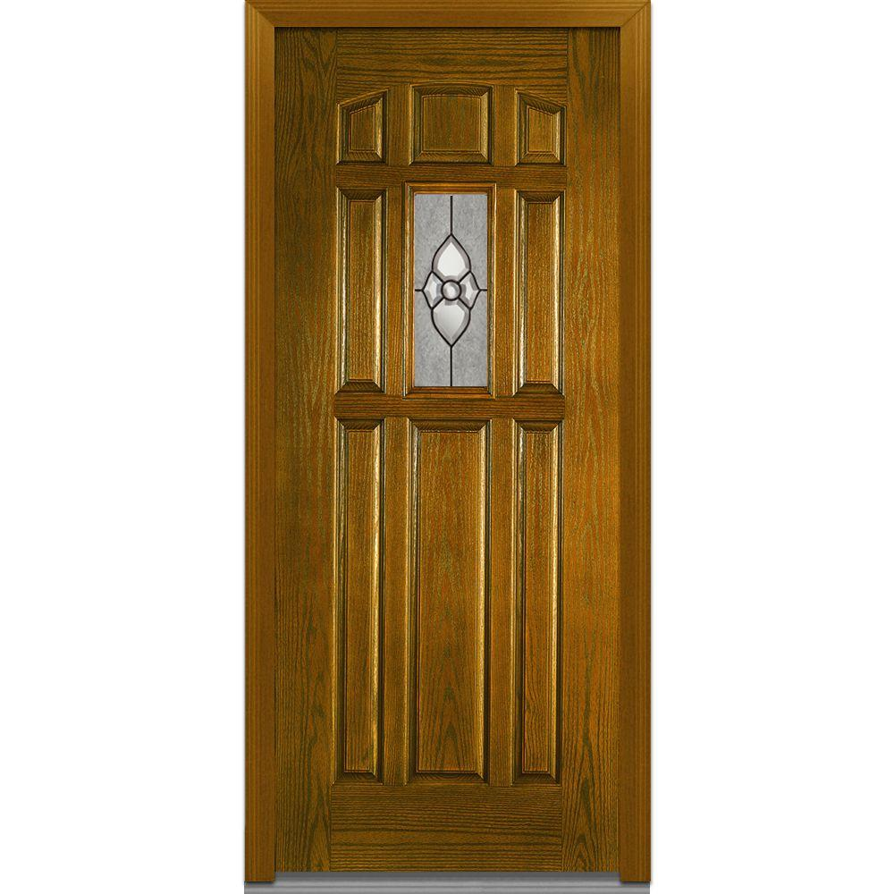 MMI Door 36 in. x 80 in. Master Nouveau Left-Hand 1/4 Lite 8-Panel Classic Stained Fiberglass Oak Prehung Front Door